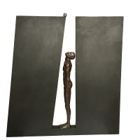 It's Just a Pea (U)  Figure in Bronze Letter in Steel 52x49x7cm